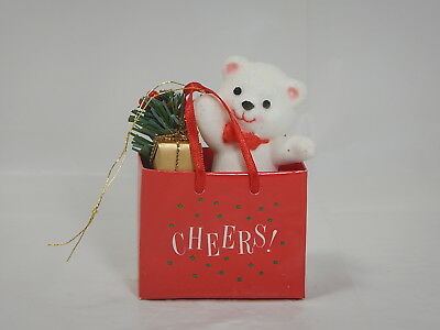 Vintage Avon Christmas Holiday Friend Ornament Teddy In Bag Gift Collection NIB