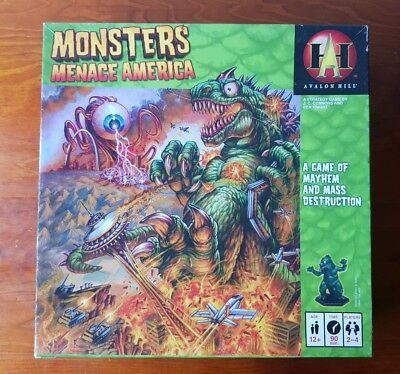 Monsters Menace America Board Game 100% Complete Avalon Hill Mayhem Destruction