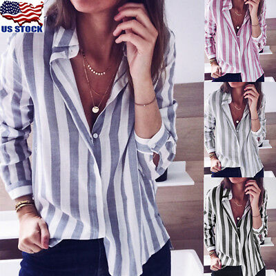 Womens Long Sleeve Striped Shirt Button Down OL Ladies Loose Blouse Tops T-shirt