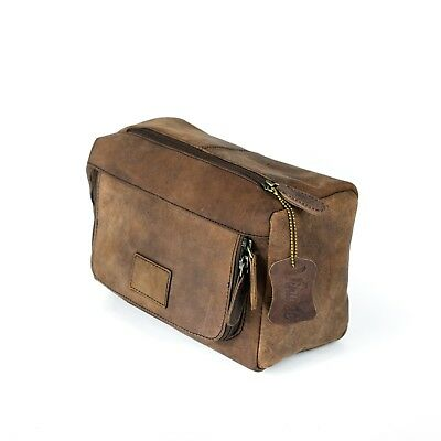 New Vintage Leather Travel Toiletry Bag Organizer Men's Travel Accessories