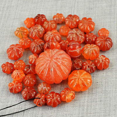 346.50 Carats Natural Flower Carved Carnelian Round Shape Drilled Beads Lot