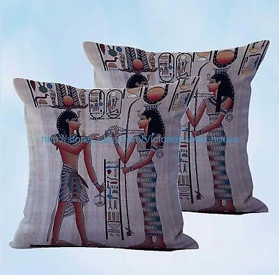set of 2 decorative pillows for Ancient Egyptian art cushion cover