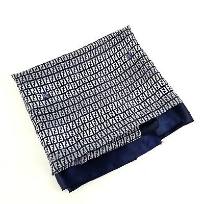 fa79a1687f FENDI WOMENS LARGE Silk Scarf Soft Blue White Head Wrap Ascot Unique SPELL  OUT
