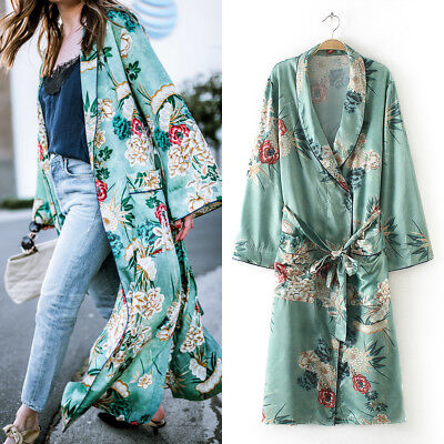UK Stock Women's Floral Loose Kimono Long Cardigan Tops Boho Coat Jacket Blouses