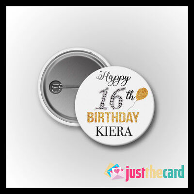 Personalised 16th Birthday Name Glitter and Black Badge