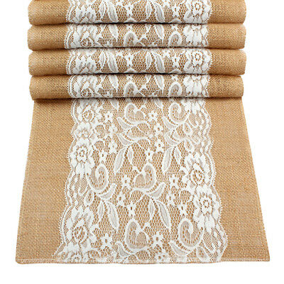 Burlap Hessian Lace Wedding Table Runner Vintage Rustic Party Banquet Decoration