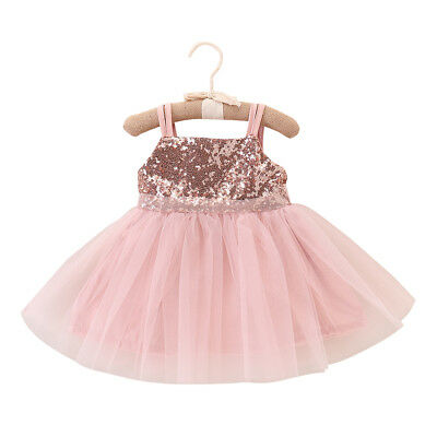 2018 Baby Girls Lace Tulle Sequin Dress Party Wedding Ball Princess Dresses