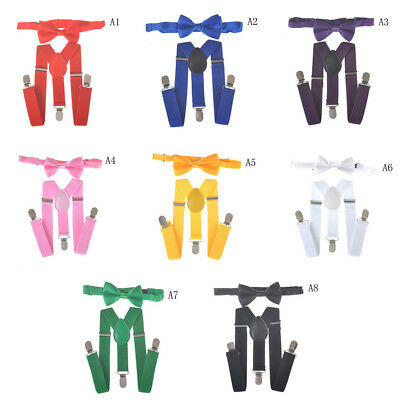 Baby Boys Kids Suspender and Bow Tie Matching Set Tuxedo Wedding Suit Party RS