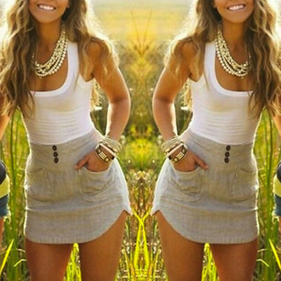 Women Sleeveless Dress Pocket O-neck Patchwork Irregular Sexy Vestidos Summer