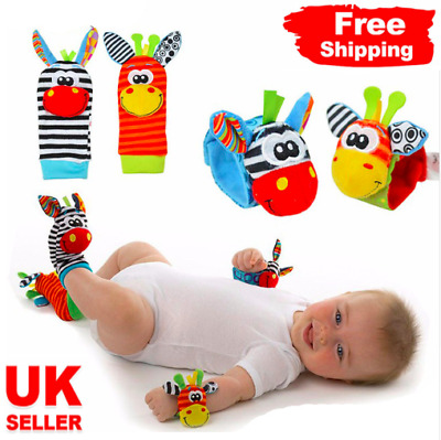 4 PCS Cute Animal Infant Baby Kids Hand Wrist Bells Foot Sock Rattles Soft Toys