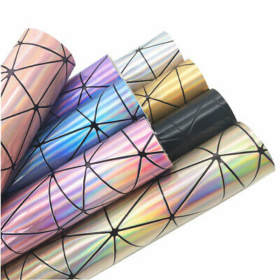 Holographic Geometric Iridescent PU Faux Leather Fabric Bag Craft Material Sheet