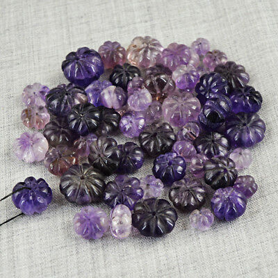 395.50 Carats Earth Mined Untreated Drilled Purple Amethyst Carved Beads Lot
