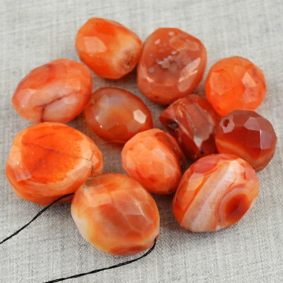 Amazing 425.00 Carats Natural Untreated Faceted Orange Onyx Drilled Beads Lot