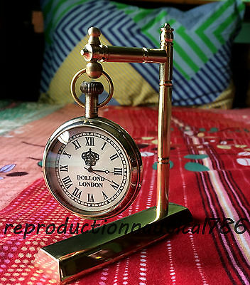 Handmade Brass Desktop Working Clock Collectible Beautiful Clock Decorative