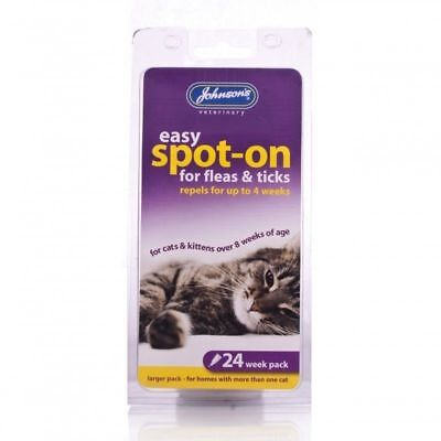 JOHNSONS Flea Drops For Cats Easy Spot On 6 Treatments 24 Weeks Protection