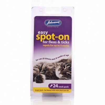 Johnsons Easy spot on - 6 Treatments 24 Weeks Protection flea tick repel cat