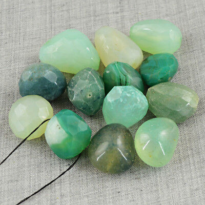Genuine 495.00 Carats Natural Untreated Faceted Green Onyx Drilled Beads Lot