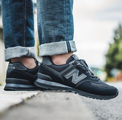 brand new 258f1 84f9a NEW BALANCE 574 Black Sneakers Men's Lifestyle Shoes