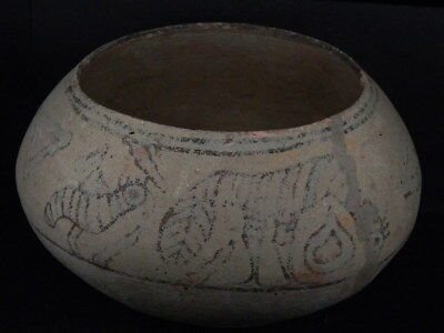 Ancient Large Size Teracotta Painted Pot With Bull Indus Valley 2500 BC #Ik518