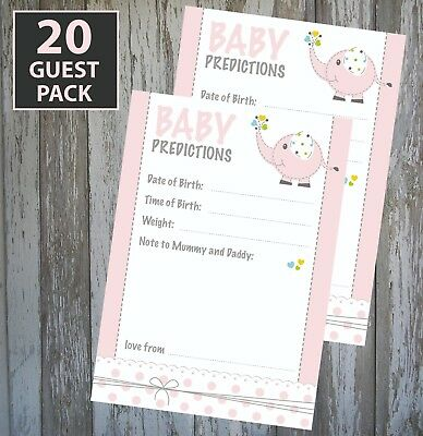20 Guest Pack Girl Baby Shower Game - Pink Prediction Cards - Keepsake!! #1