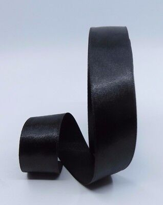 22mm Black Satin Single Side Ribbon Gift Wrapping Hair Clip Card Making