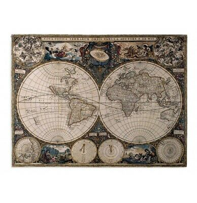 OLD WORLD MAP Tapestry Wall Hanging Large Antique Art Woven Italian - Large world map wall hanging