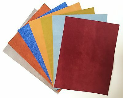Suede Pieces Mixed Colours Cowhide 20cm x 15cm 1.2-1.6mm thick soft supple craft