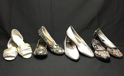 Lot 4 Sz 8 Embellished Shoes Silver Sequin Annie Flat Embroidered Black Women