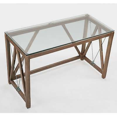 MODERN CHIC INDUSTRIAL Home Office Desk Glass Top - $365.00 ...