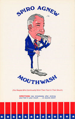LOT OF 2 POSTERS: COMICAL: SPIRO AGNEW MOUTHWASH -  FREE SHIPPING !     RC44 i