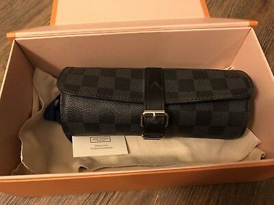 931a02b5b3 LOUIS VUITTON 3 Watch Case Damier Graphite Travel Case N41137 Like New