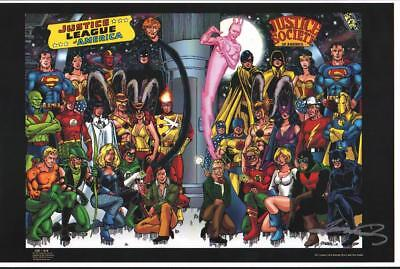 George Perez Signed Justice League/ Justice Society Print, Nm!  Free Shipping!
