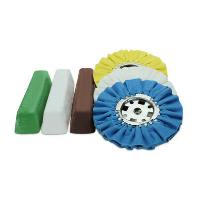 """6 Piece Kit: 8"""" Airway Buffing Wheels & XL Polishing Compound Bars Combo Pack"""