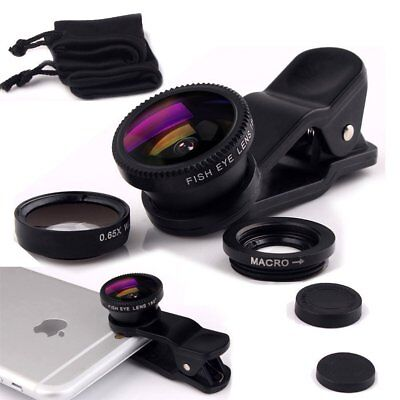 For iPhone/Samsung 3 in 1 Clip-on Fish Eye Wide Angle Macro Lens Camera Lens Kit