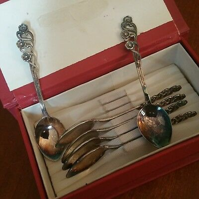 Antique SET OF 6 SPOONS POLAND 800 Silver Hallmarked w/ Box