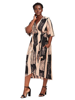 1450553fef5 NEW MELISSA MCCARTHY SEVEN7 BRUSHSTROKE STRIPE WRAP DRESS SZ 3X ...
