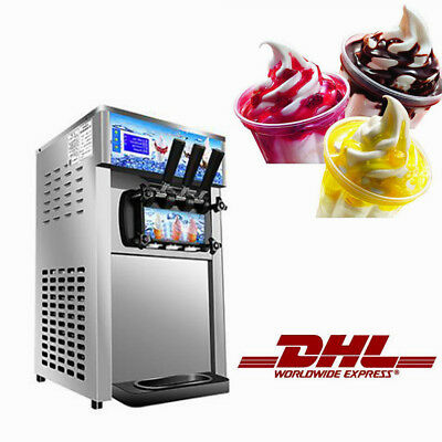 BY DHL Soft Serve Ice Cream Machine 3-Flavor Frozen Yogurt Machine Quick Cooling