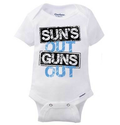 brand new f85ae 9a62b Suns Out Firearms Out Summer Funny Beach 2nd Amendment Baby Gerber Onesie