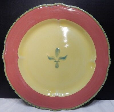 """Preowned -Pfaltzgraff PISTOULET One Yellow Red Trim Dinner Plates 11"""" nice cond."""