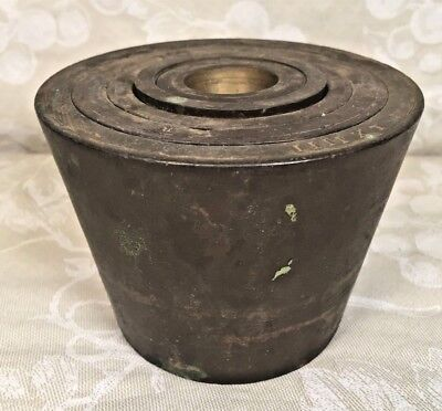 Vintage 6 Brass Weights Set Shaped like a Pot Top Weight Missing