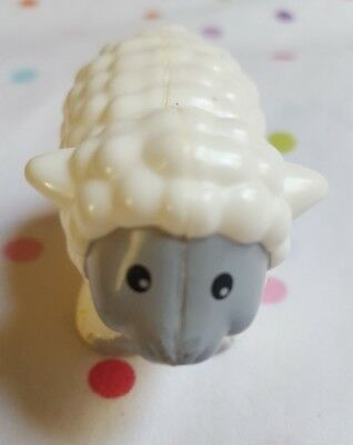 "2"" tall white/gray Lamb Sheep Figurine party Cake Topper kids toy pre-owned"