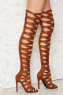 f1acfdf5452 New Nasty Gal  150 Brown Privileged Over The Knee Stiletto Boots Shoes Sz 7