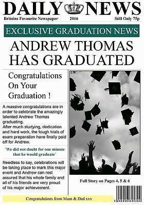 Personalised Newspaper Effect Graduation Card - Gorgeous !