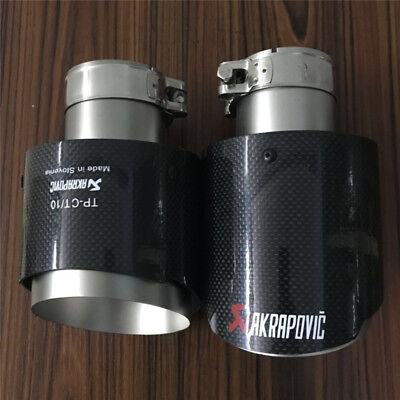 "1 X IN 2.5"" 63MM OUT: 4.5"" 114MM Akrapovic Glossy Carbon Fiber Pipe Exhaust Tip"