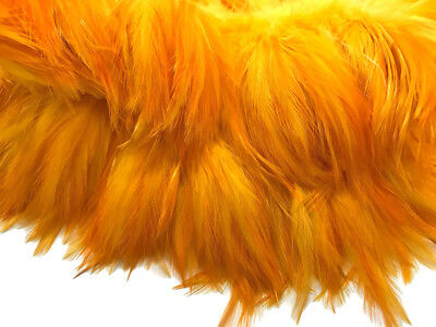 4 Inch Strip -Golden Yellow Strung Rooster Neck Hackle Feathers Craft Fly Tying