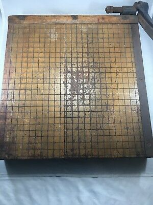 "Vtg No 4 Ingento 12""x12"" Maple Wood PAPER CUTTER Ideal School Supply Chicago"