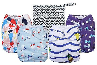 Reusable Baby Cloth Diapers One Size Fits All Lot, 4 PACK, 4 Inserts
