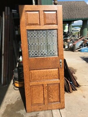 An 468 Antique Leaded Glass Quartersawn Oak Door 29 7/8 X 76.75 X 1.5