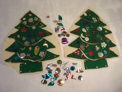 Lot Of 2 Vintage Hand Crafted Felt Christmas Tree With Antique Sequins Garland