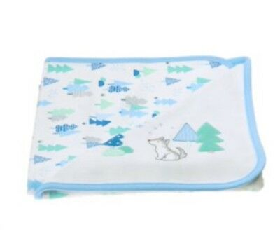 6c98b9df64ca GYMBOREE NEWBORN ESSENTIALS Baby Boy Blue Wolf Receiving Reversible ...